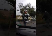 Полагане на асфалт на пътя Лом - Комощица
